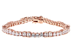 White Cubic Zirconia 18K Rose Gold Over Sterling Silver Tennis Bracelet 10.41ctw