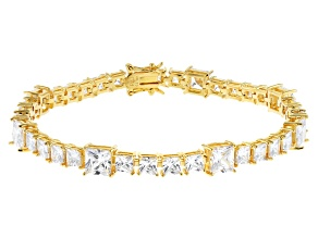 White Cubic Zirconia 18K Yellow Gold Over Sterling Silver Tennis Bracelet 28.56ctw