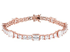 White Cubic Zirconia 18K Rose Gold Over Sterling Silver Tennis Bracelet 28.56ctw