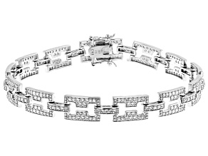 White Cubic Zirconia Rhodium Over Sterling Silver Tennis Bracelet 3.94ctw