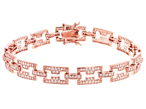 White Cubic Zirconia 18K Rose Gold Over Sterling Silver Tennis Bracelet 3.94ctw