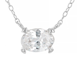 White Cubic Zirconia Rhodium Over Sterling Silver Necklace 1.17ctw
