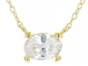 White Cubic Zirconia 18K Yellow Gold Over Sterling Silver Necklace 1.17ctw