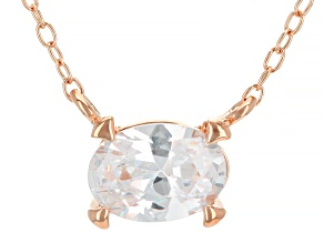 White Cubic Zirconia 18K Rose Gold Over Sterling Silver Necklace 1.17ctw