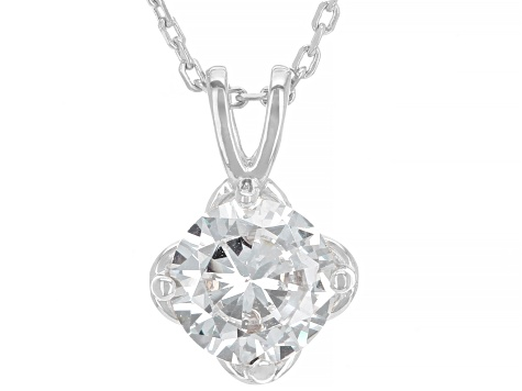 White Cubic Zirconia Rhodium Over Sterling Silver Pendant With Chain 2.18ctw