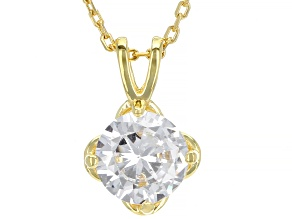 White Cubic Zirconia 18K Yellow Gold Over Sterling Silver Pendant With Chain 2.18ctw