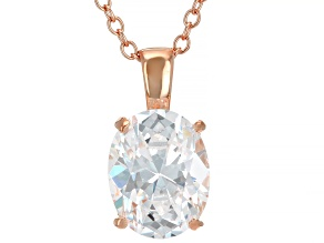 White Cubic Zirconia 18K Rose Gold Over Sterling Silver Pendant With Chain 2.88ctw