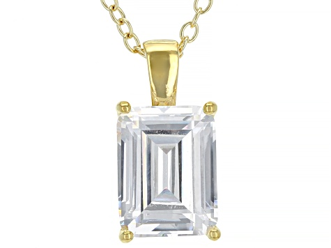 White Cubic Zirconia 18K Yellow Gold Over Sterling Silver Pendant With Chain 3.16ctw