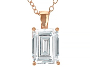 White Cubic Zirconia 18K Rose Gold Over Sterling Silver Pendant With Chain 3.16ctw