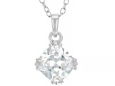 White Cubic Zirconia Rhodium Over Sterling Silver Pendant With Chain 2.76ctw