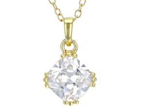 White Cubic Zirconia 18K Yellow Gold Over Sterling Silver Pendant With Chain 2.76ctw