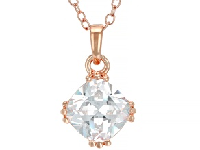 White Cubic Zirconia 18K Rose Gold Over Sterling Silver Pendant With Chain 2.76ctw