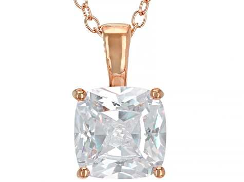 White Cubic Zirconia 18K Rose Gold Over Sterling Silver Pendant With Chain 3.15ctw