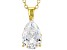 White Cubic Zirconia 18K Yellow Gold Over Sterling Silver Pendant With Chain 2.97ctw