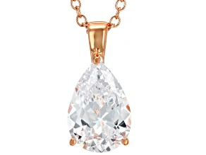 White Cubic Zirconia 18K Rose Gold Over Sterling Silver Pendant With Chain 2.97ctw