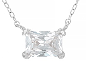 White Cubic Zirconia Rhodium Over Sterling Silver Necklace 1.48ctw