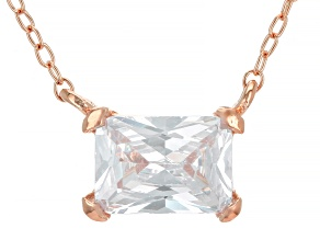 White Cubic Zirconia 18K Rose Gold Over Sterling Silver Necklace 1.48ctw