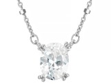 White Cubic Zirconia Rhodium Over Sterling Silver Station Necklace 1.80ctw