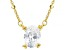 White Cubic Zirconia 18K Yellow Gold Over Sterling Silver Station Necklace 1.80ctw