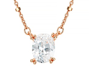 White Cubic Zirconia 18K Rose Gold Over Sterling Silver Station Necklace 1.80ctw
