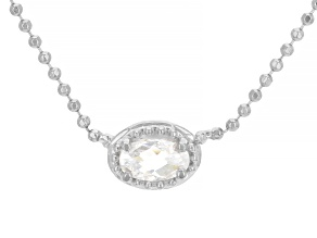 White Cubic Zirconia Rhodium Over Sterling Silver Necklace 0.32ctw