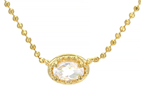 White Cubic Zirconia 18K Yellow Gold Over Sterling Silver Necklace 0.32ctw