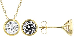 White Cubic Zirconia 18K Yellow Gold Over Sterling Silver Pendant And Earrings 4.86ctw