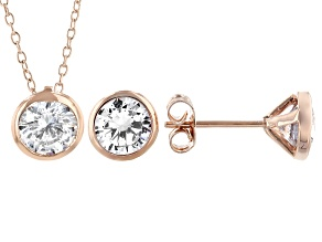 White Cubic Zirconia 18K Rose Gold Over Sterling Silver Pendant And Earrings 4.86ctw