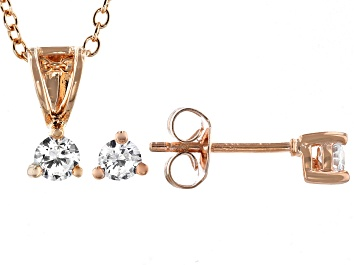 Picture of White Cubic Zirconia 18K Rose Gold Over Sterling Silver Pendant With Chain And Earrings 0.52ctw