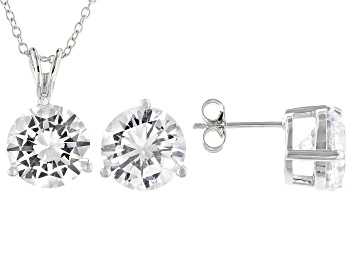 Picture of White Cubic Zirconia Rhodium Over Sterling Silver Pendant With Chain And Earrings 17.01ctw