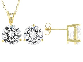 White Cubic Zirconia 18K Yellow Gold Over Sterling Silver Pendant With Chain And Earrings 17.01ctw