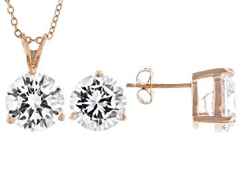 Picture of White Cubic Zirconia 18K Rose Gold Over Sterling Silver Pendant With Chain And Earrings 17.01ctw