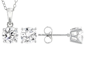 White Cubic Zirconia Rhodium Over Sterling Silver Pendant With Chain and Earrings 4.54ctw