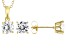 White Cubic Zirconia 18K Yellow Gold Over Sterling Silver Pendant With Chain and Earrings 4.54ctw