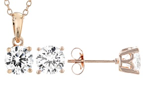 White Cubic Zirconia 18K Rose Gold Over Sterling Silver Pendant With Chain and Earrings 4.54ctw