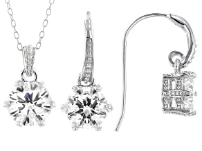 White Cubic Zirconia Rhodium Over Sterling Silver Pendant With Chain And Earrings 7.34ctw
