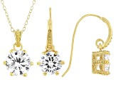 White Cubic Zirconia 18K Yellow Gold Over Sterling Silver Pendant With Chain And Earrings 7.34ctw