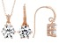 White Cubic Zirconia 18K Rose Gold Over Sterling Silver Pendant With Chain And Earrings 7.34ctw