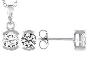 White Cubic Zirconia Rhodium Over Sterling Silver Pendant With Chain and Earrings 4.59ctw