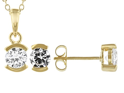 White Cubic Zirconia 18K Yellow Gold Over Sterling Silver Pendant With Chain and Earrings 4.59ctw