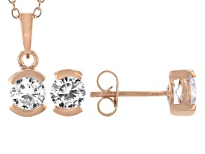 White Cubic Zirconia 18K Rose Gold Over Sterling Silver Pendant With Chain and Earrings 4.59ctw