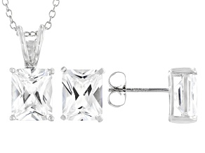 White Cubic Zirconia Rhodium Over Sterling Silver Pendant With Chain And Earrings 10.66ctw