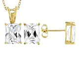 White Cubic Zirconia 18K Yellow Gold Over Sterling Silver Pendant With Chain And Earrings 10.66ctw