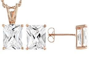 White Cubic Zirconia 18K Rose Gold Over Sterling Silver Pendant With Chain And Earrings 10.66ctw