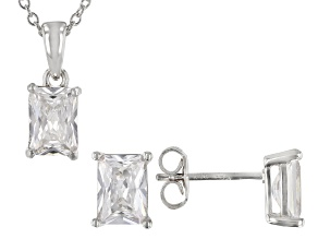 White Cubic Zirconia Rhodium Over Sterling Silver Pendant With Chain And Earrings 4.45ctw