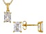 White Cubic Zirconia 18K Yellow Gold Over Sterling Silver Pendant With Chain And Earrings 4.45ctw