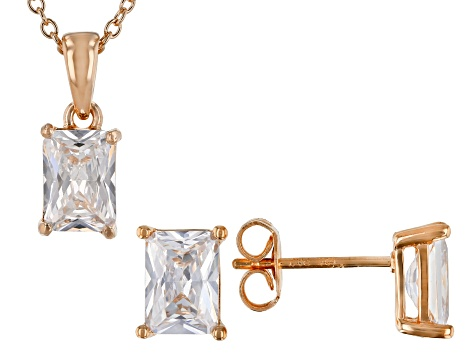 White Cubic Zirconia 18K Rose Gold Over Sterling Silver Pendant With Chain And Earrings 4.45ctw