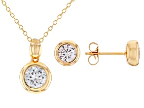 White Cubic Zirconia 18K Yellow Gold Over Sterling Silver Pendant With Chain And Earrings 3.24ctw