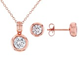 White Cubic Zirconia 18K Rose Gold Over Sterling Silver Pendant With Chain And Earrings 3.24ctw