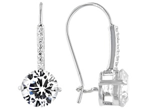 White Cubic Zirconia Platinum Over Sterling Silver Earrings 4.49ctw
